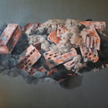 Anatomia de la construccion_bodegon de ladrillos 114x162 cm 1990 Certamen de pintura Eusebio Sempere y I premio de pintura puerto banús1994