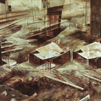 Anatomia de la construccion_iniciacion 97x130 cm 1988. XVII premio Caja Madrid y arquitecto destacado en la obra plastica COAM 1989