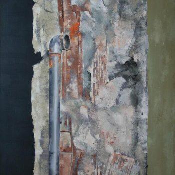 Anatomia de la construccion_seccion con tubo 97x146 cm 1991.XI certamen de pintura de la academia de Bellas artes de sta.cecilia1992