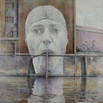 Arte Urbano_Berlin Homenaje a Mentalgassi .146x114 cm.Collage fotográfico oleo lienzo 2015-16