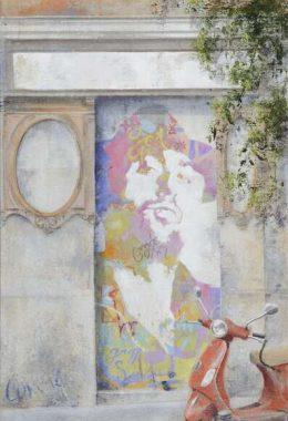 Arte urbano_Boa Mistura en calle Cervantes 2011. 60x30 cm.Collage fotografico oleo lienzo.