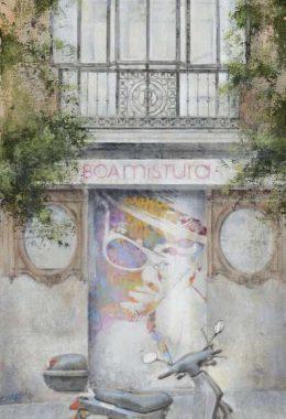 Arte urbano_Boa Mistura en calle Cervantes esquina con San Agustin 2011. 60x30 cmCollage fotografico oleo lienzo
