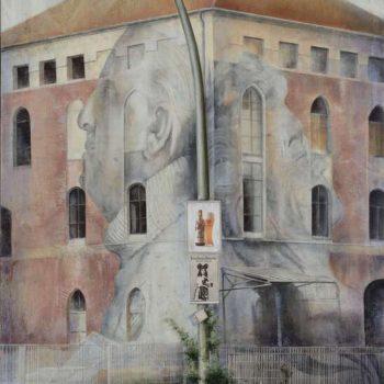 Arte urbano_Esquina en Berlin, 130x89 cm.130x89 cm. oleo-collage fotografico-lienzo 2016