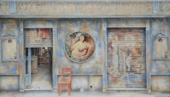 Arte urbano_La taberna Pompeyana.96x192 cm. oleo-collage-lienzo. 2015-16