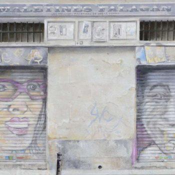Arte urbano_Maletas Falagan, calle San Vicente Ferrer 2017 30x60 cm