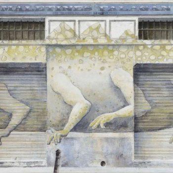 Arte urbano_Mariano J.Vilallonga en calle San Vicente Ferrer 2017 30x60 cm