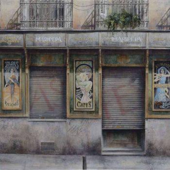 Arte urbano_Maripepa I 85x192 cm, mixta, oleo collage lienzo 2016-17