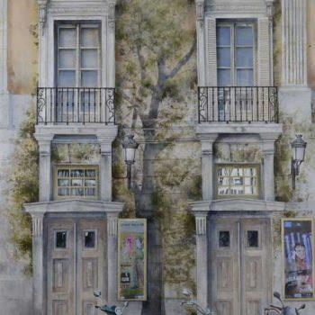 Arte urbano_Propuesta de arbolado plaza Sta.ana 192x135 cm, collage fotografico oleo lienzo. 2017