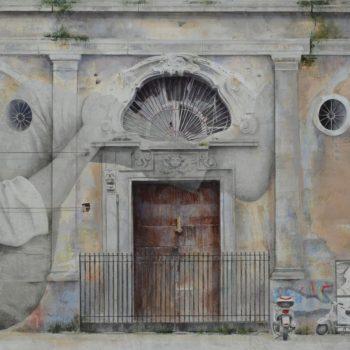 Arte urbano_Propuesta en Napoles 96x 192 cm Collage fotografico-oleo-lienzo 2016