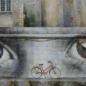 Arte urbano_Seth en Paris 60x120 cm. Collage fotografico oleo lienzo 2016