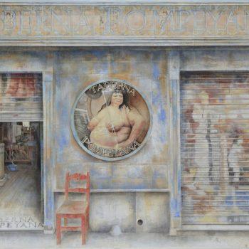 Arte urbano_Taberna pompeyana 96x192 cm. Oleo lienzo collage. 2016-17