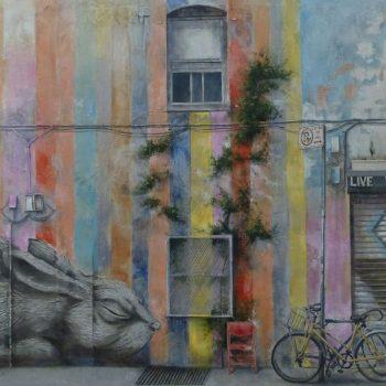 Arte urbano_conejo en NY 114x188 cm. Collage fotografico Oleo lienzo. 2015_web