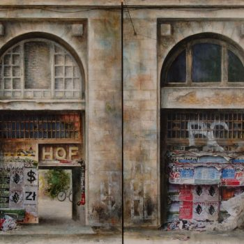 La Ciudad Transgredida_Berlin HOFF y BC 73x50cm. Oleo collage lienzo .2009