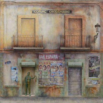 La ciudad transgredida_Coñac Oxigenado. Oleo-collage-tabla.120x120x10 cm 2014