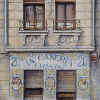 La ciudad transgredida_La cañeria, 150x100 cm, oleo collage lienzo, 2015-17
