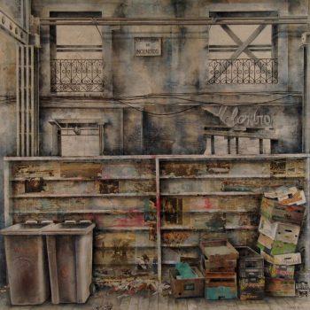 La ciudad transgredida_Madrid Centro 1. 2010. 192x192 cm. Oleo collage lienzo