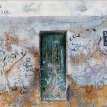 La huella del tiempo. Casa de Indias_Jesús Nazareno .óleo collage lienzo.27x41 cm.2019