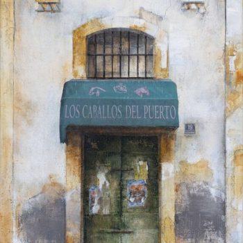 La huella del tiempo. Casa de Indias_Los caballos del puerto,Óleo collage lienzo.46x33 cm (2)