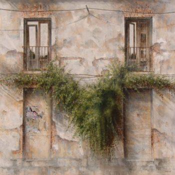 Naturaleza y arquitectura. Muros_Olvido I,120x120 cm oleo lienzo,2008