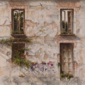 Naturaleza y arquitectura. Muros_Olvido II,120x120 cm oleo lienzo 2008