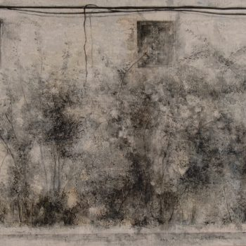Naturaleza y arquitectura. Muros_valle de mena 1,30x60cm. Oleo tabla. 2009