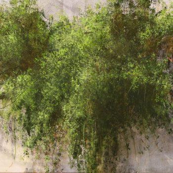 Naturaleza y arquitectura. Muros_verdor 1 30x60 cm. Oleo tabla. 2007
