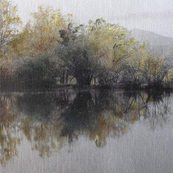 Pocket painting_Pantano Conico. 8-V-20. 20h49 mn. Oleo foto aluminio
