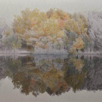 El tiempo en la naturaleza_1 Reflejos de otoño en pantano. 11-XI-17, 18h25 mn . 36,3x 55 cm