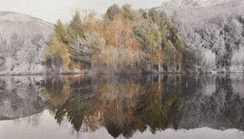 El tiempo en la naturaleza_2 Reflejos de invierno en pantano 30-XII-17, 18h11mn. 36,3x 55 cm